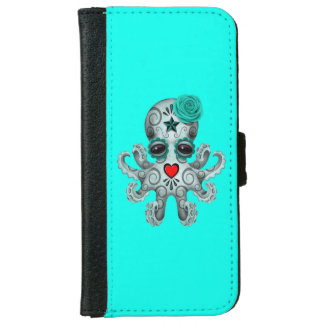 Blue Day of the Dead Baby Octopus iPhone 6 Wallet Case
