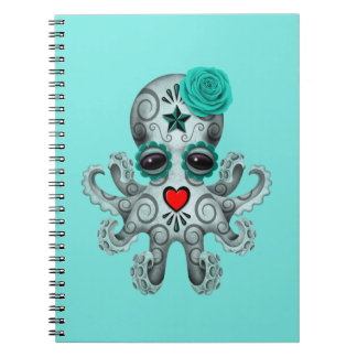 Blue Day of the Dead Baby Octopus Notebook