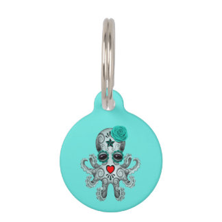 Blue Day of the Dead Baby Octopus Pet ID Tag