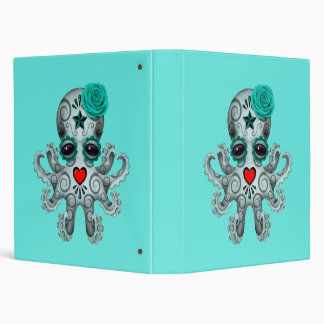Blue Day of the Dead Baby Octopus Vinyl Binder