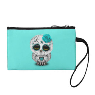 Blue Day of the Dead Baby Owl Coin Purse
