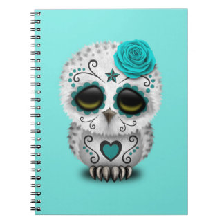 Blue Day of the Dead Baby Owl Notebook