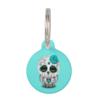 Blue Day of the Dead Baby Owl Pet ID Tag