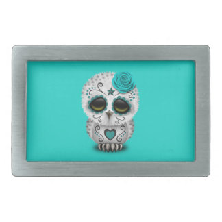 Blue Day of the Dead Baby Owl Rectangular Belt Buckle