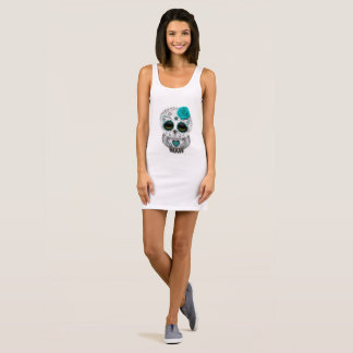 Blue Day of the Dead Baby Owl Sleeveless Dress