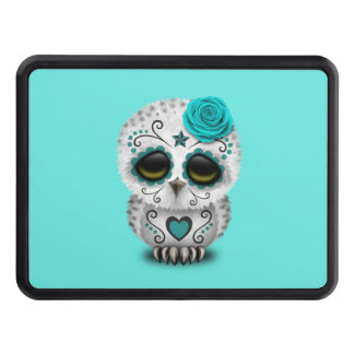 Blue Day of the Dead Baby Owl Trailer Hitch Cover