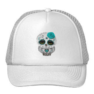 Blue Day of the Dead Baby Owl Trucker Hat