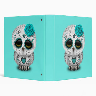 Blue Day of the Dead Baby Owl Vinyl Binder