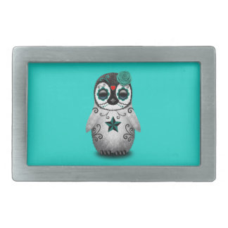 Blue Day of the Dead Baby Penguin Belt Buckle