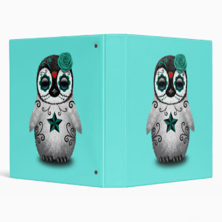 Blue Day of the Dead Baby Penguin Binder