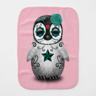 Blue Day of the Dead Baby Penguin Burp Cloth