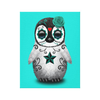 Blue Day of the Dead Baby Penguin Canvas Print