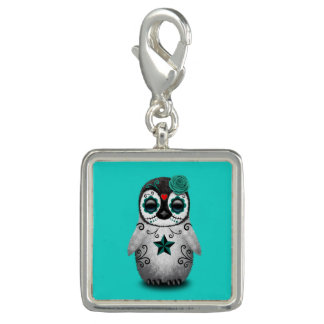 Blue Day of the Dead Baby Penguin Charms