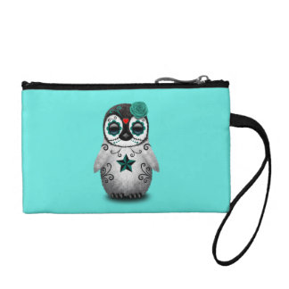 Blue Day of the Dead Baby Penguin Coin Purse