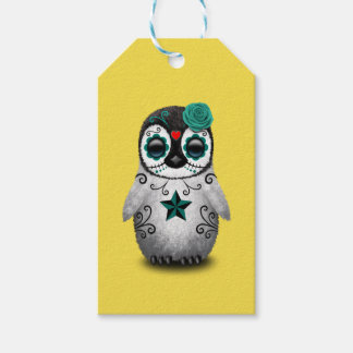 Blue Day of the Dead Baby Penguin Gift Tags