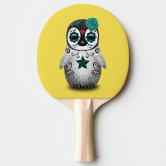 Blue Day of the Dead Baby Penguin Ping Pong Paddle