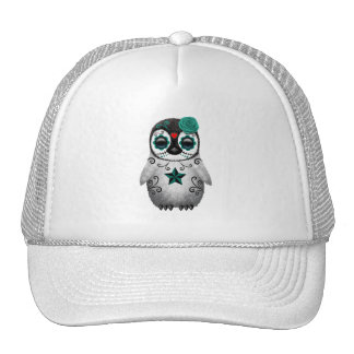 Blue Day of the Dead Baby Penguin Trucker Hat