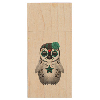 Blue Day of the Dead Baby Penguin Wood USB Flash Drive