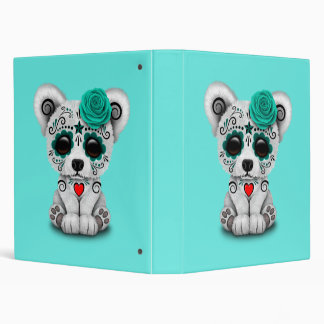 Blue Day of the Dead Baby Polar Bear Binder
