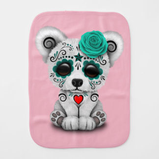 Blue Day of the Dead Baby Polar Bear Burp Cloth