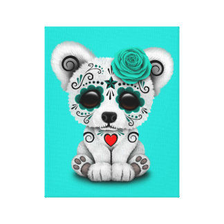 Blue Day of the Dead Baby Polar Bear Canvas Print