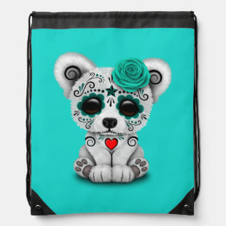 Blue Day of the Dead Baby Polar Bear Drawstring Bag