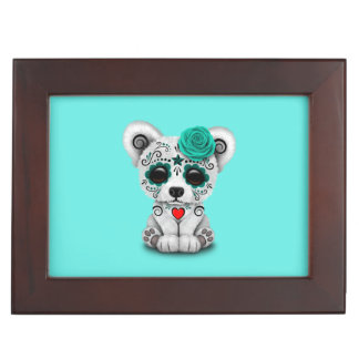 Blue Day of the Dead Baby Polar Bear Keepsake Box