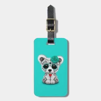 Blue Day of the Dead Baby Polar Bear Luggage Tag