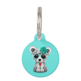 Blue Day of the Dead Baby Polar Bear Pet ID Tag