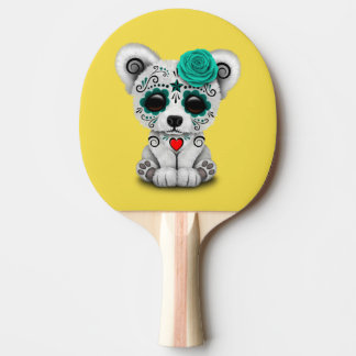 Blue Day of the Dead Baby Polar Bear Ping-Pong Paddle