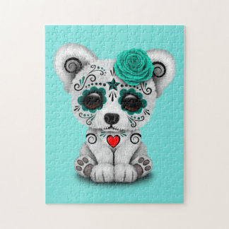 Blue Day of the Dead Baby Polar Bear Puzzle