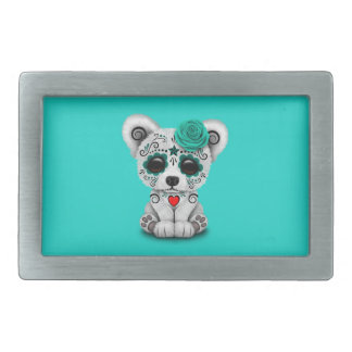 Blue Day of the Dead Baby Polar Bear Rectangular Belt Buckle
