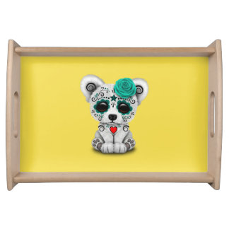 Blue Day of the Dead Baby Polar Bear Serving Tray