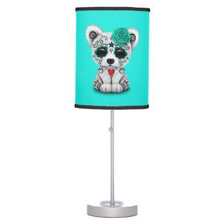 Blue Day of the Dead Baby Polar Bear Table Lamp
