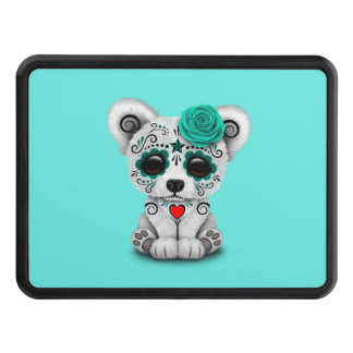 Blue Day of the Dead Baby Polar Bear Trailer Hitch Cover