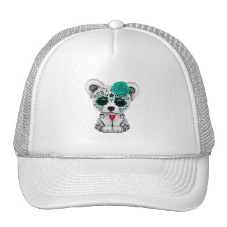 Blue Day of the Dead Baby Polar Bear Trucker Hat