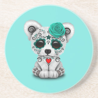 Blue Day of the Dead Baby Puppy Dog Beverage Coasters
