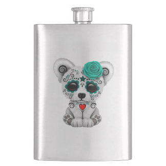 Blue Day of the Dead Baby Puppy Dog Hip Flask