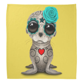 Blue Day of the Dead Baby Sea Lion Bandana