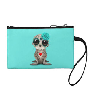 Blue Day of the Dead Baby Sea Lion Coin Purse