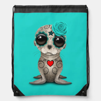 Blue Day of the Dead Baby Sea Lion Drawstring Bag