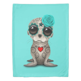 Blue Day of the Dead Baby Sea Lion Duvet Cover