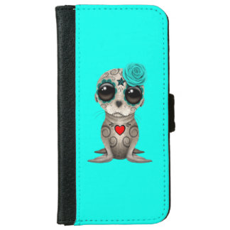 Blue Day of the Dead Baby Sea Lion iPhone 6 Wallet Case
