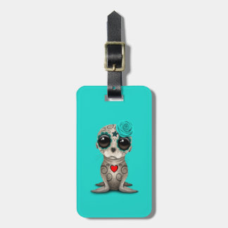 Blue Day of the Dead Baby Sea Lion Luggage Tag