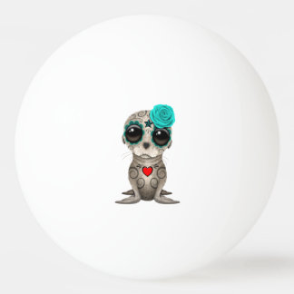 Blue Day of the Dead Baby Sea Lion Ping Pong Ball