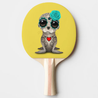 Blue Day of the Dead Baby Sea Lion Ping Pong Paddle