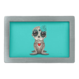Blue Day of the Dead Baby Sea Lion Rectangular Belt Buckles