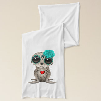 Blue Day of the Dead Baby Sea Lion Scarf