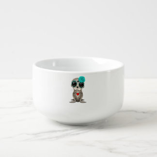 Blue Day of the Dead Baby Sea Lion Soup Bowl With Handle