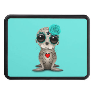 Blue Day of the Dead Baby Sea Lion Trailer Hitch Cover